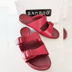 Bamboo  Red Slip-On Sandals Size 10